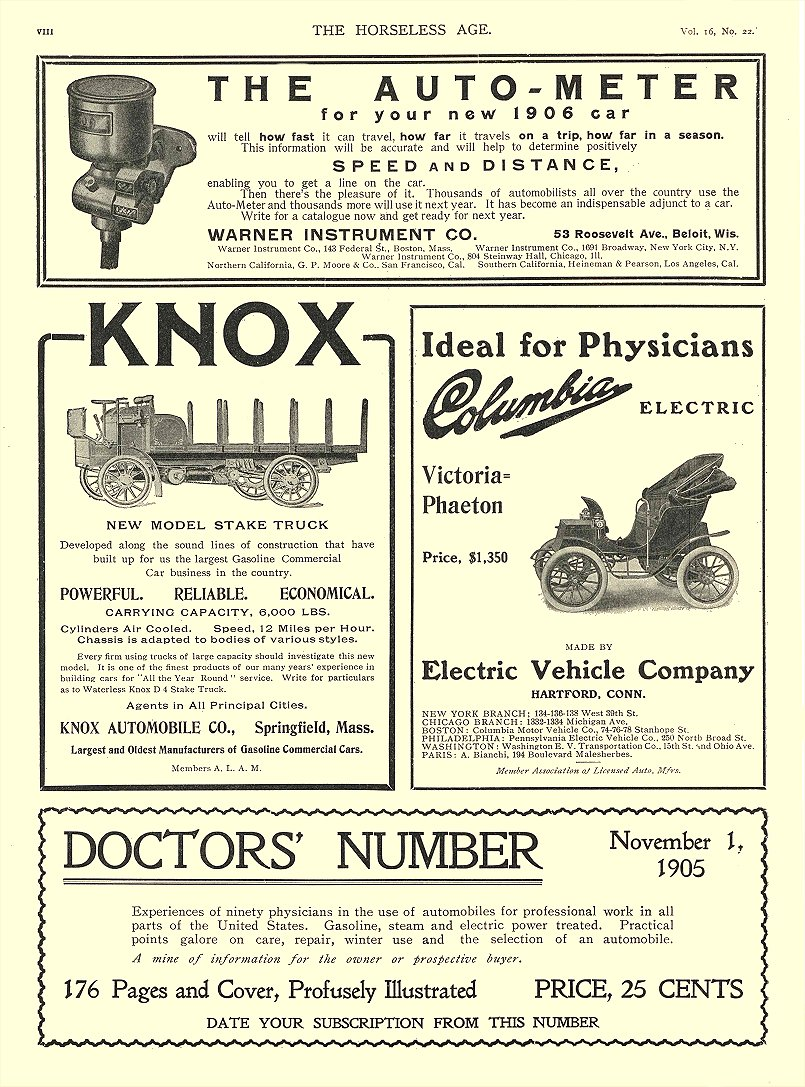 1903 11 29 COLUMBIA Electric Ideal for Physicians Victoria Phaeton Electric Vehicle Company Hartford, CONN THE HORSELESS AGE November 29, 1903 8″x11.75″ page VIII