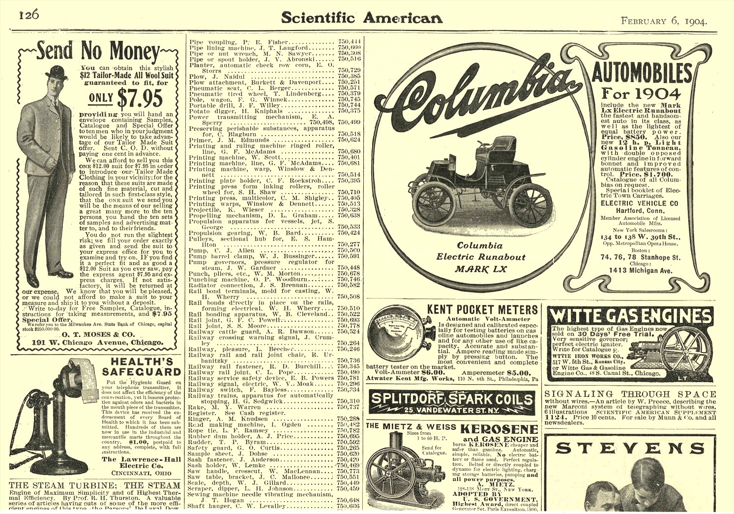 1904 COLUMBIA Electric Automobile Electric Runabout MARK LX Electric Vehicle Co Hartford, CONN Scientific American February 6, 1904 10.5″x7″ page 126