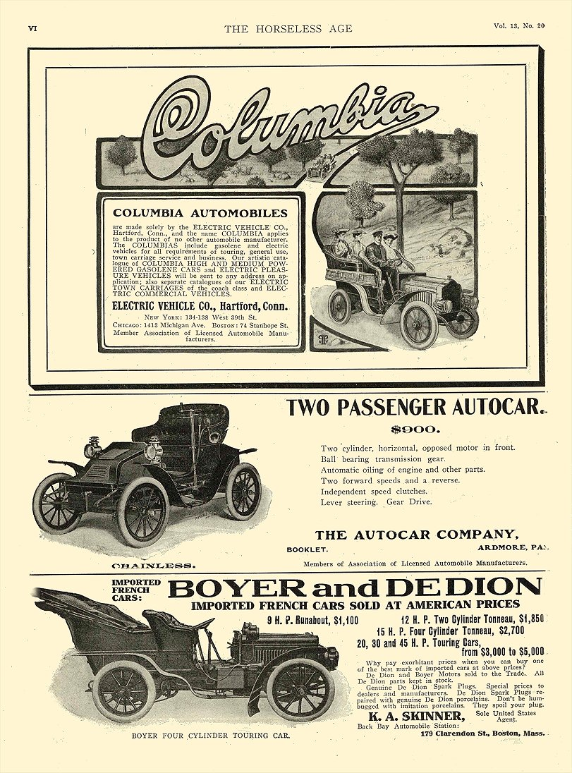 1904 5 18 COLUMBIA AUTOMOBILES ELECTRIC VEHICLE CO Hartford, CONN THE HORSELESS AGE May 18, 1904 9″x12″ page 6