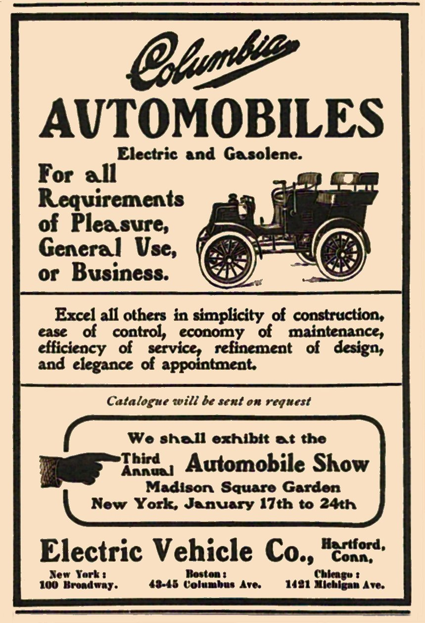 1904 COLUMBIA AUTOMOBILES Electric and Gasoline Electric Vehicle Co Hartford, Conn 3″x4″