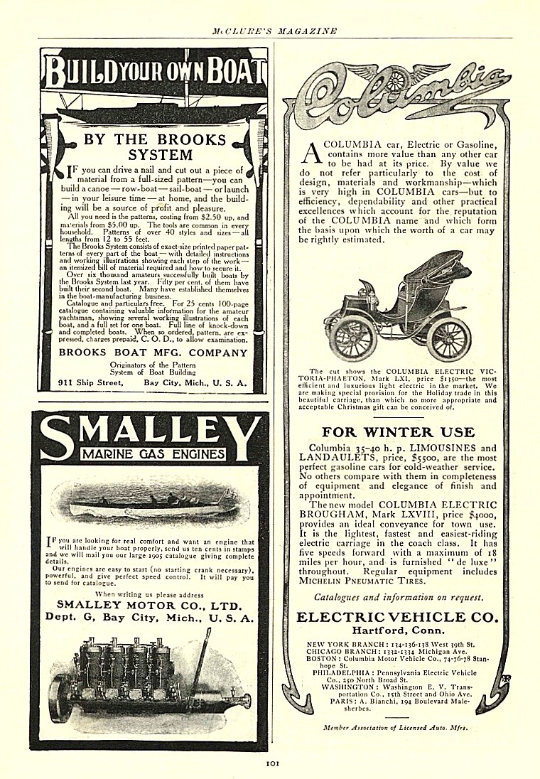 1905 11 COLUMBIA Electric FOR WINTER USE ELECTRIC VEHICLE CO. Hartford, CONN McCLURE'S MAGAZINE November 1905 6.75″x9.75″ page 101