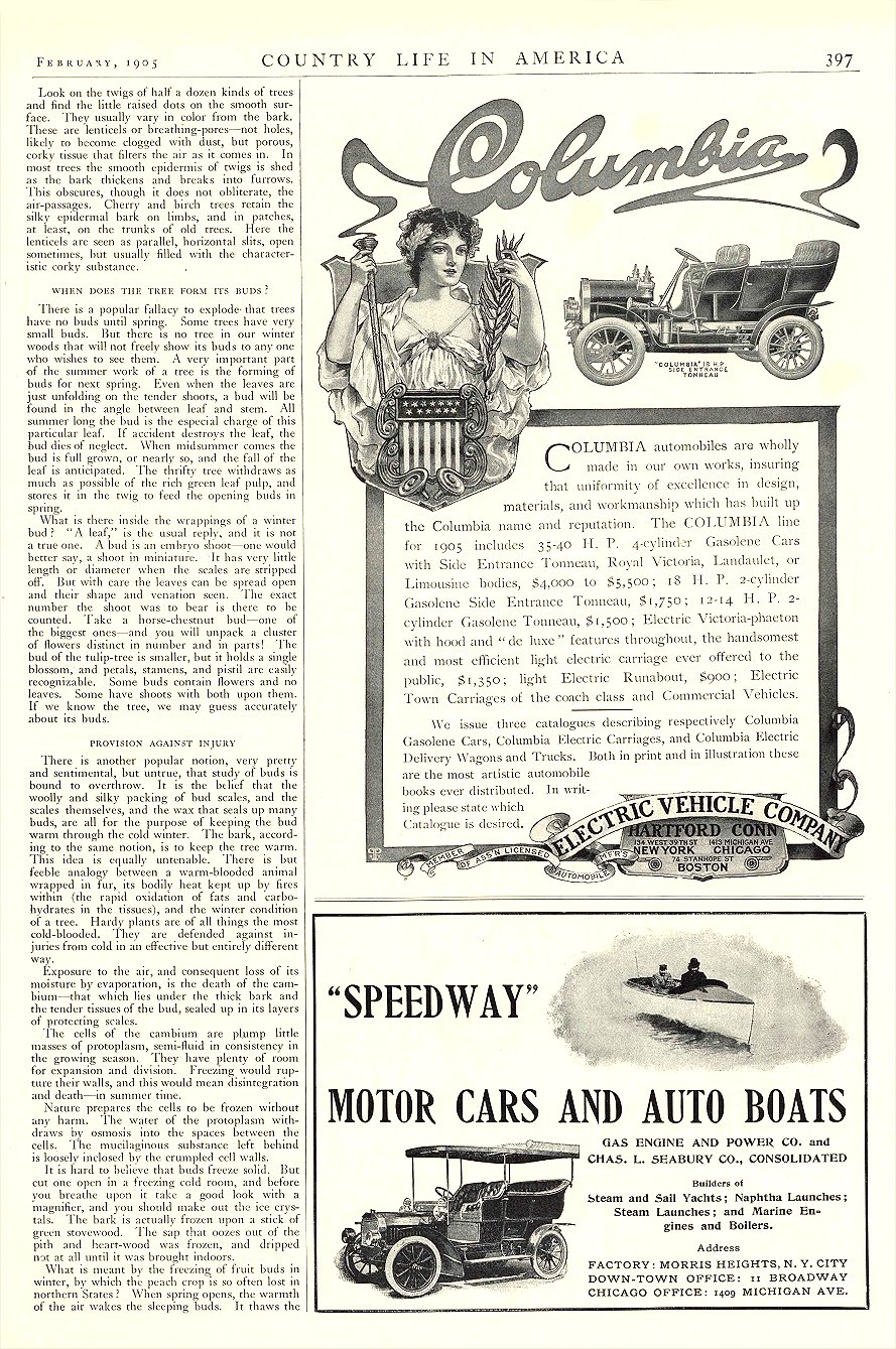 1905 2 COLUMBIA Gasolene and Electric ELECTRIC VEHICLE COMPANY Hartford, CONN COUNTRY LIFE IN AMERICA February 1905 9.5″x13.75″ page 397