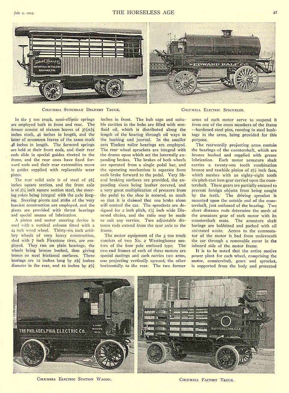 1905 7 5 COLUMBIA Electric Truck Columbia Suburban Delivery Truck Columbia Electric Sprinkler Columbia Electric Station Wagon Columbia Factory Truck THE HORSELESS AGE July 5, 1905 University of Minnesota Library 8.5″x11.5″ page 41