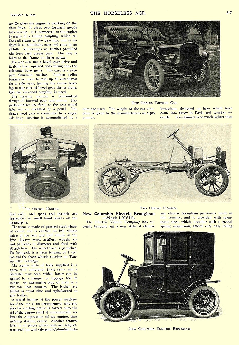 1905 9 13 COLUMBIA Electric New Columbia Electric Brougham — Mark LXV!!! THE HORSELESS AGE September 13, 1905 University of Minnesota Library 8.5″x11.5″ page 317