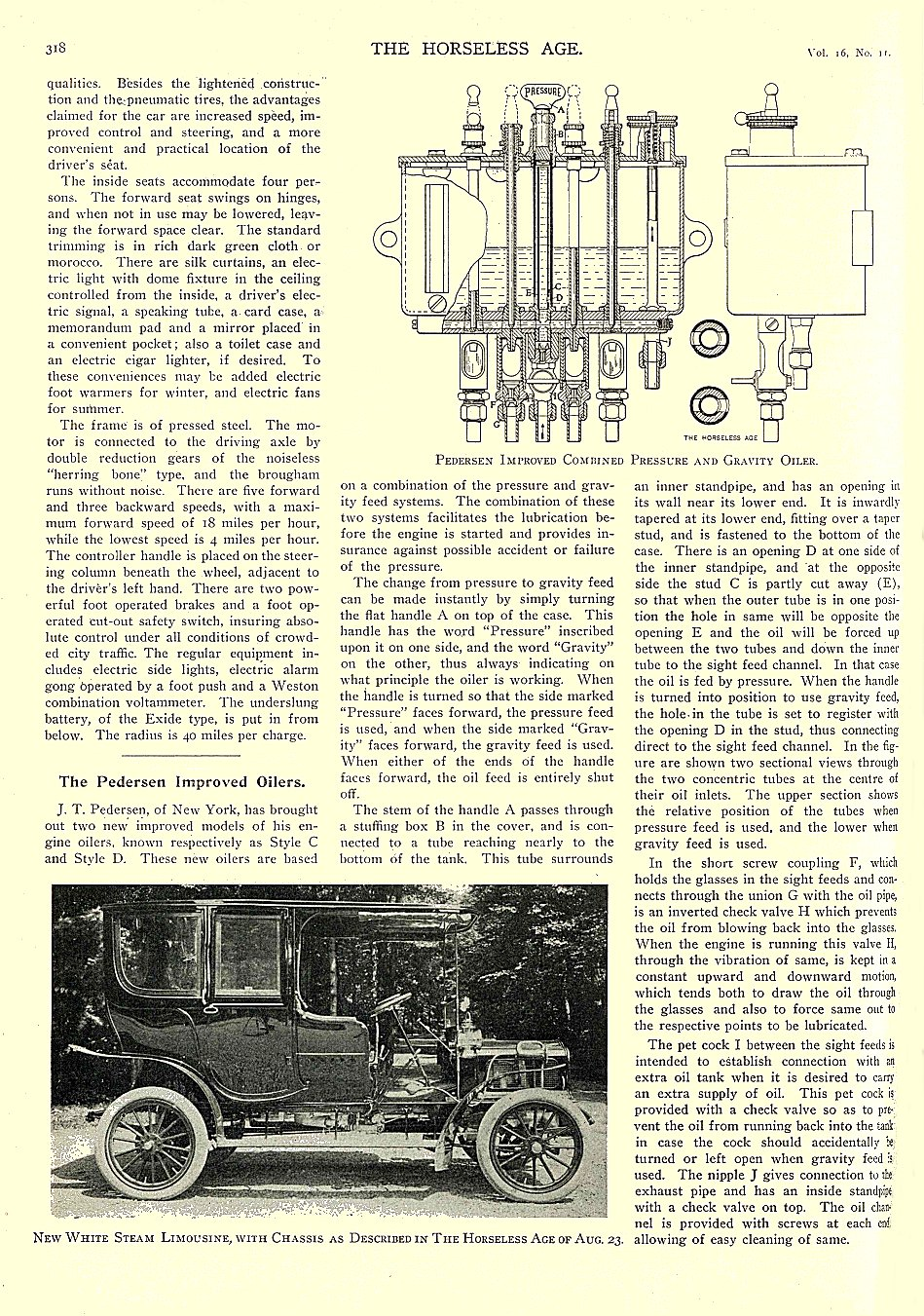 1905 9 13 COLUMBIA Electric New Columbia Electric Brougham — Mark LXV!!! THE HORSELESS AGE September 13, 1905 University of Minnesota Library 8.5″x11.5″ page 318