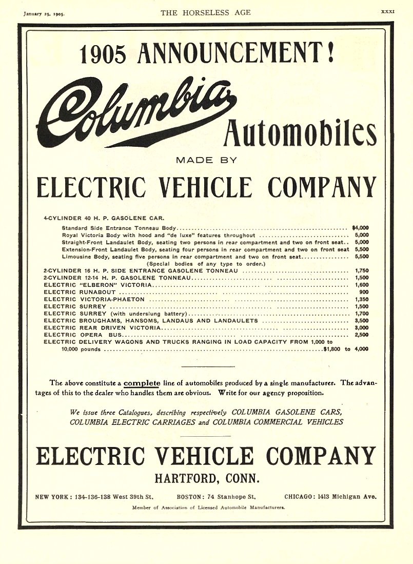1905 1 25 COLUMBIA Electric 1905 ANNOUNCEMENT! Electric Vehicle Company Hartford, CONN THE HORSELESS AGE January 25, 1905 8.25″x11.75″ page XXXI