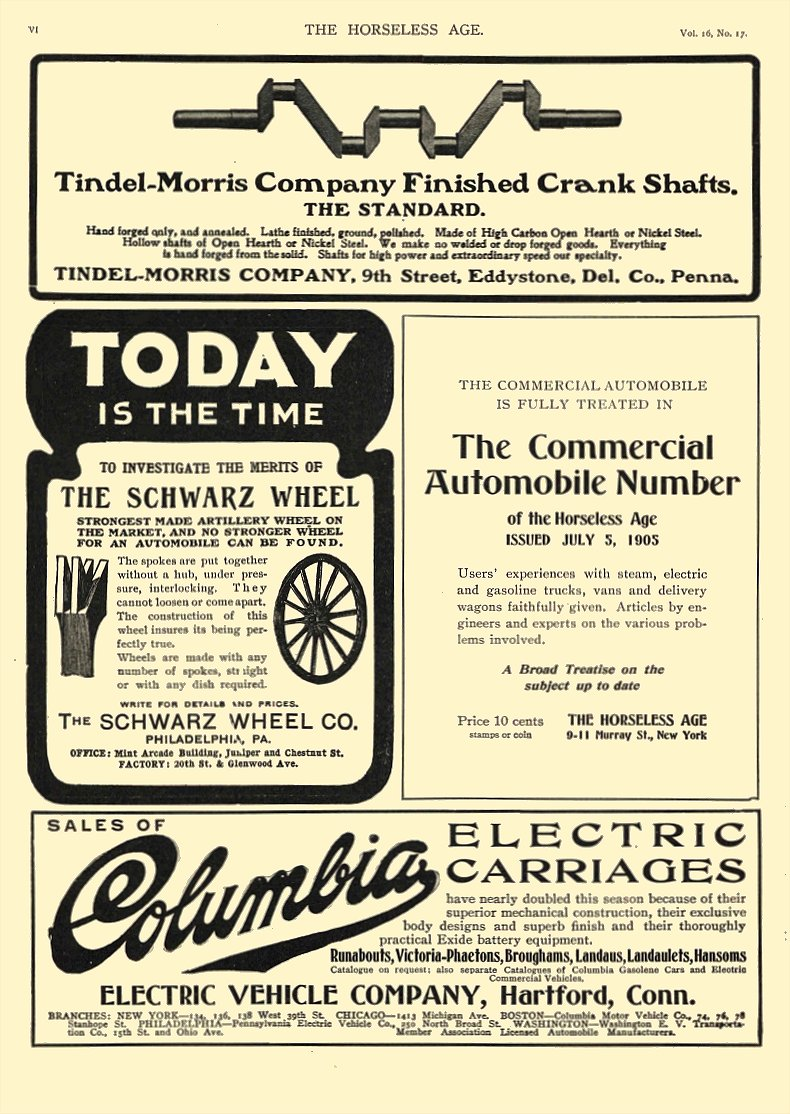 1905 10 25 COLUMBIA Electric Columbia ELECTRIC CARRIAGES ELECTRIC VEHICLE COMPANY Hartford, CONN THE HORSELESS AGE October 25, 1905 8.5″x11.75″ page VI