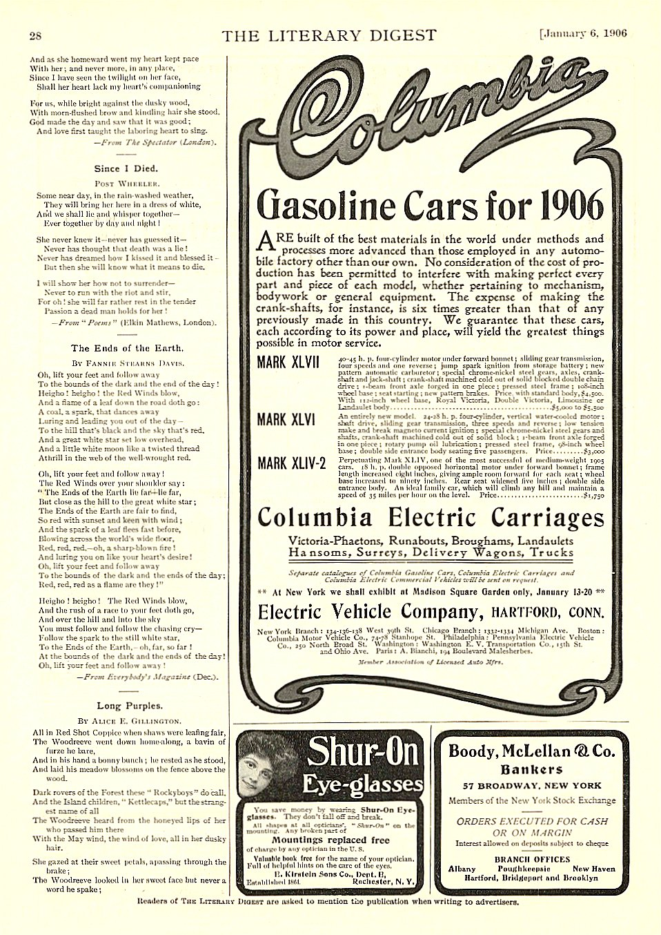 1906 1 6 COLUMBIA Electric Gasoline Cars for 1906 Columbia Electric Carriages Electric Vehicle Company Hartford, CONN The Literary Digest January 6, 1906 9″x12″ page 28