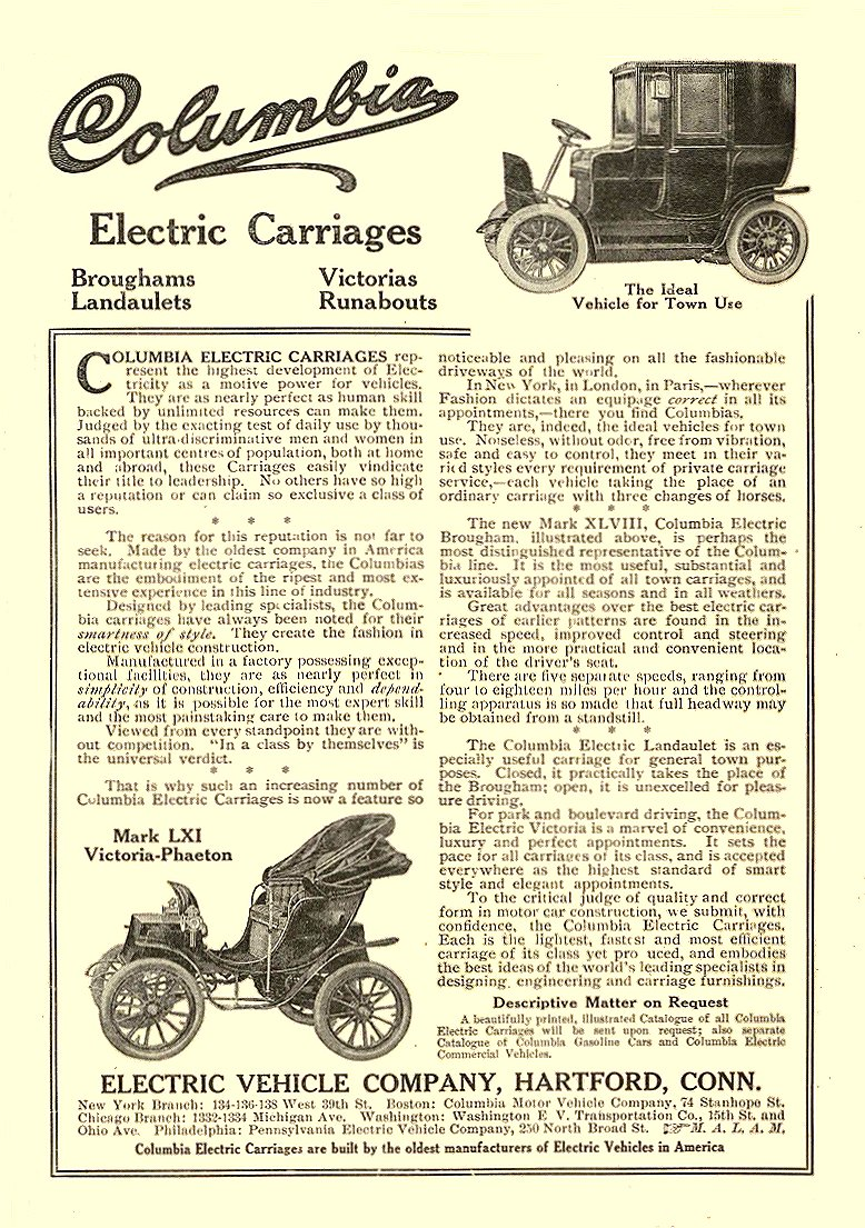 1906 9 COLUMBIA Electric Electric Carriages Mark LXI ELECTRIC VEHICLE COMPANY Hartford, CONN Collier's September 1906 5.5″x7.75″
