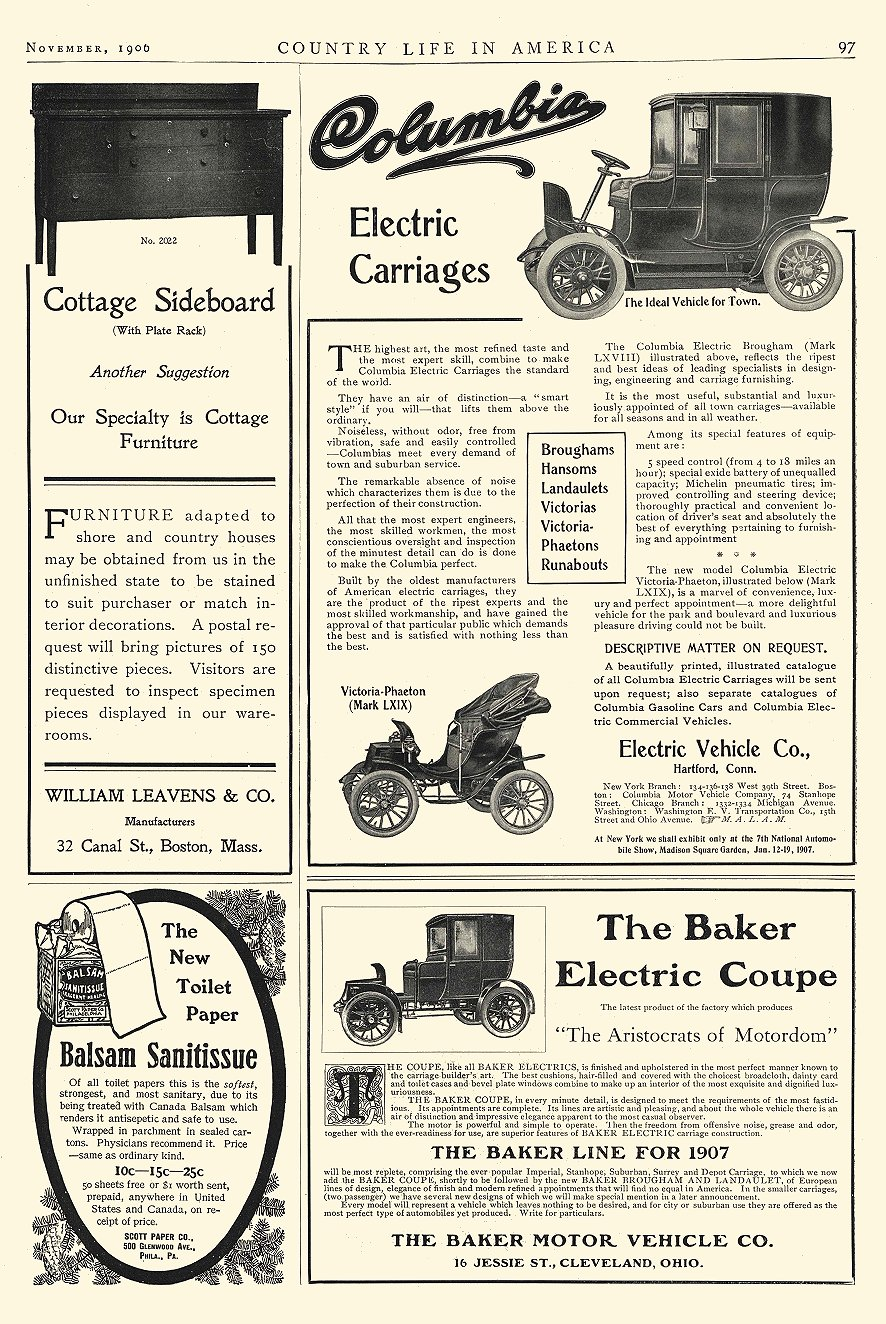1906 11 COLUMBIA Electric Electric Carriages (MARK LXIX) Electric Vehicle Co Hartford, CONN COUNTRY LIFE IN AMERICA November 1906 10″x14.25″ page 97