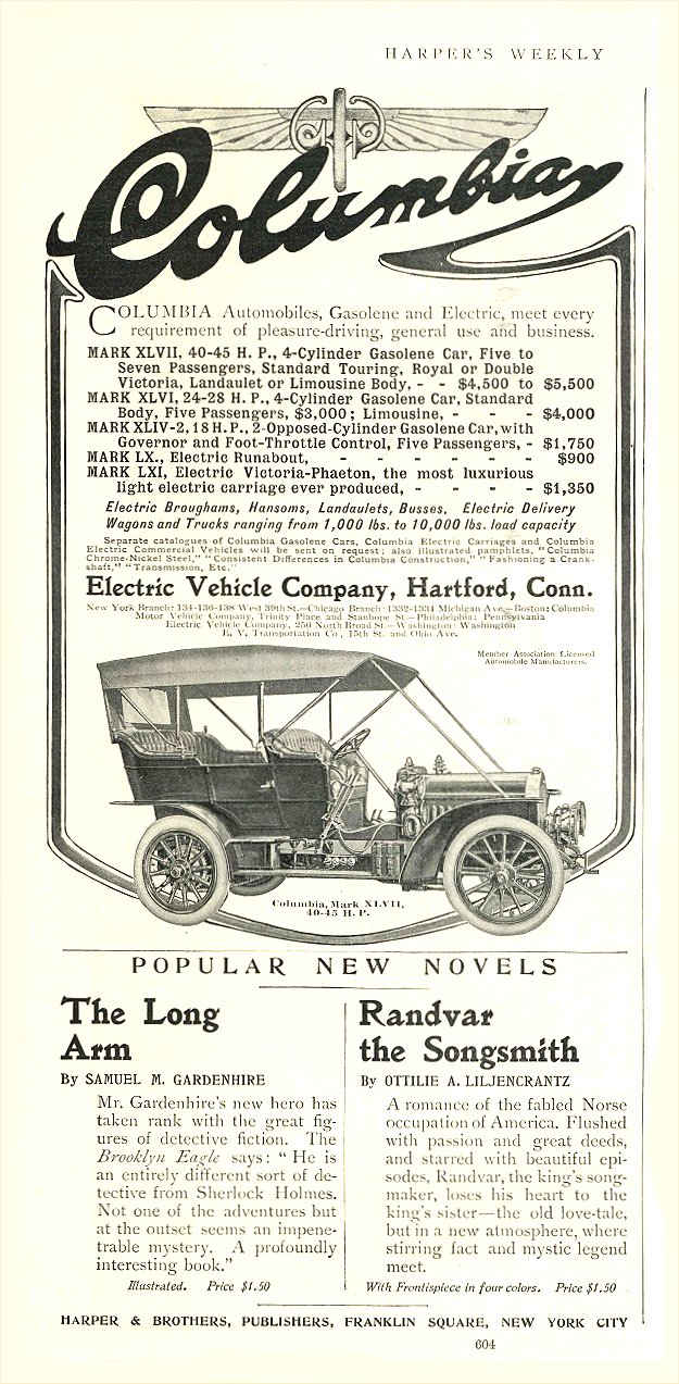 1906 4 28 COLUMBIA Gasolene and Electric Electric Vehicle Company Hartford, CONN HARPER'S WEEKLY April 28, 1906 6.25″x13″ page 604