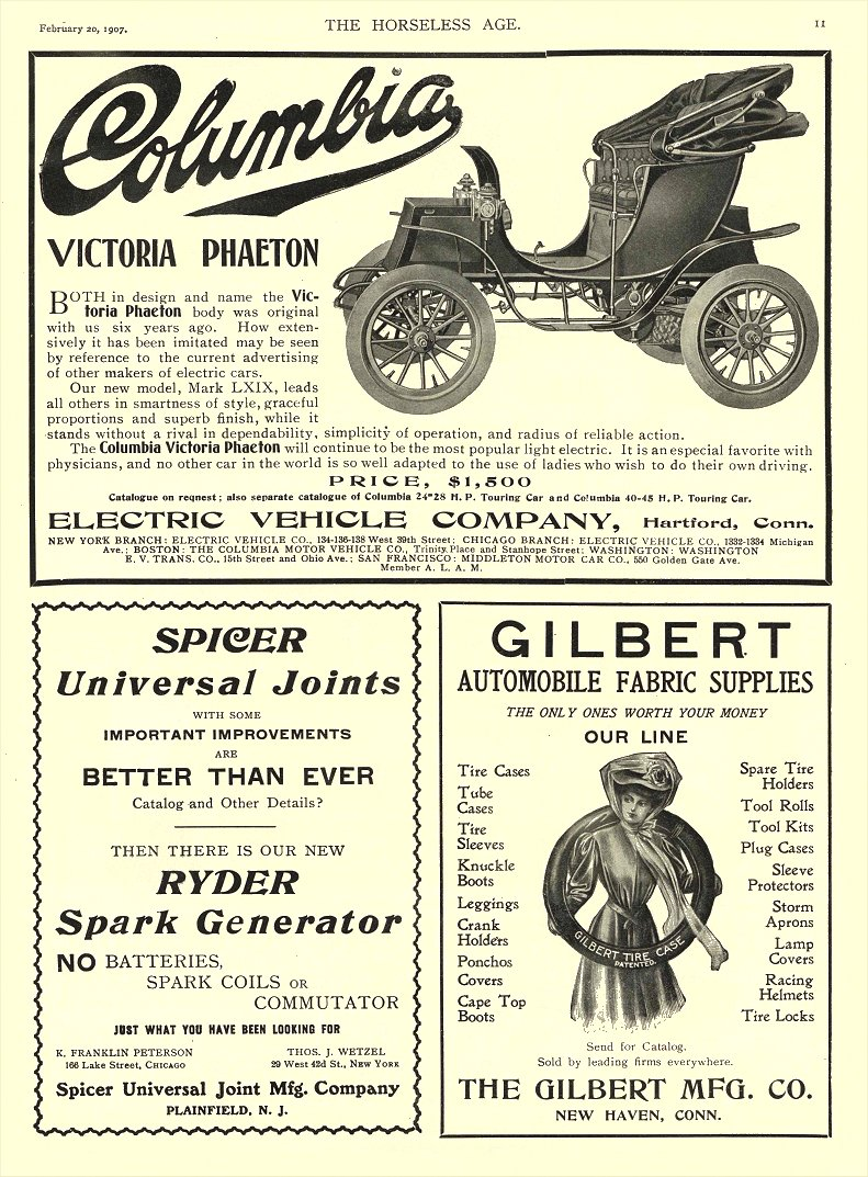 1907 2 20 COLUMBIA Electric Victoria Phaeton PRICE $1,500 Electric Vehicle Company Hartford, CONN THE HORSELESS AGE February 20, 1907 8.25″x11.75″ page 11