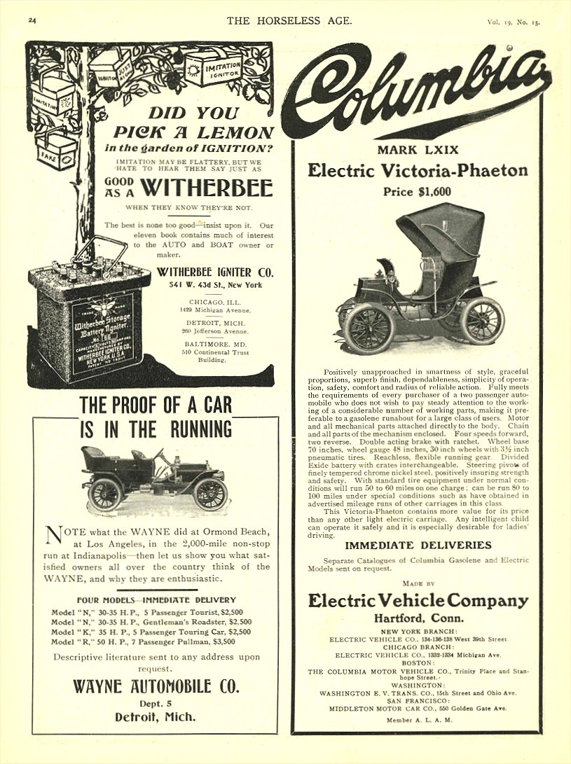 1907 4 10 COLUMBIA Electric MARK LXIX Victoria Phaeton PRICE $1,600 Electric Vehicle Company Hartford, CONN THE HORSELESS AGE April 10, 1907 8.25″x11.5″ page 24