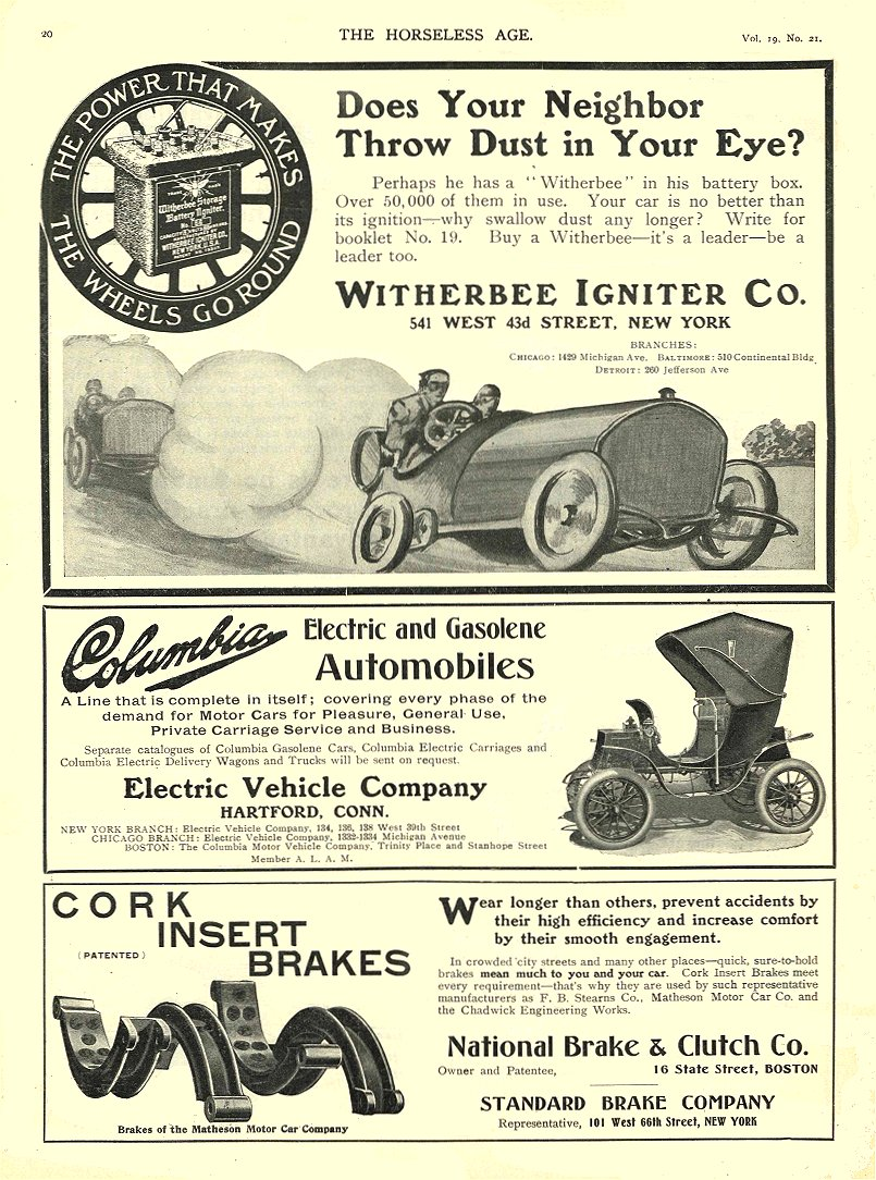1907 5 22 COLUMBIA Electric Electric and Gasolene Automobiles Electric Vehicle Company Hartford, CONN THE HORSELESS AGE May 22, 1907 8.25″x12″ page 20