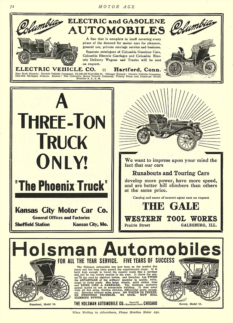 1907 5 23 COLUMBIA Electric Electric and Gasolene Automobiles Electric Vehicle Co Hartford, CONN MOTOR AGE May 23, 1907 8.5″x12″ page 72
