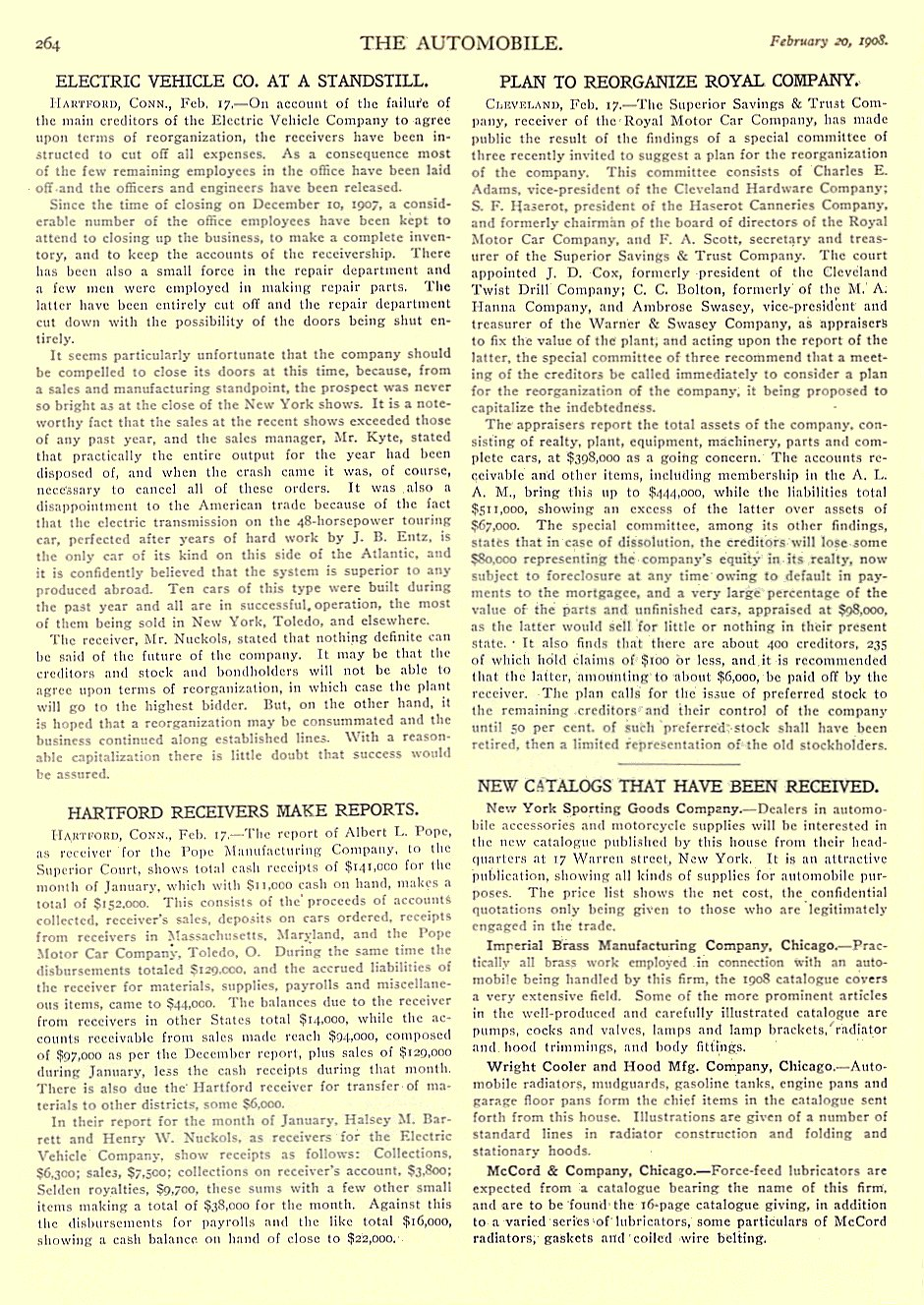 1908 2 20 ELECTRIC VEHICLE Company Article Electric Vehicle Co. At A Standstill THE AUTOMOBILE February 20, 1908 University of Minnesota Library 8.25″x11.75″ page 264