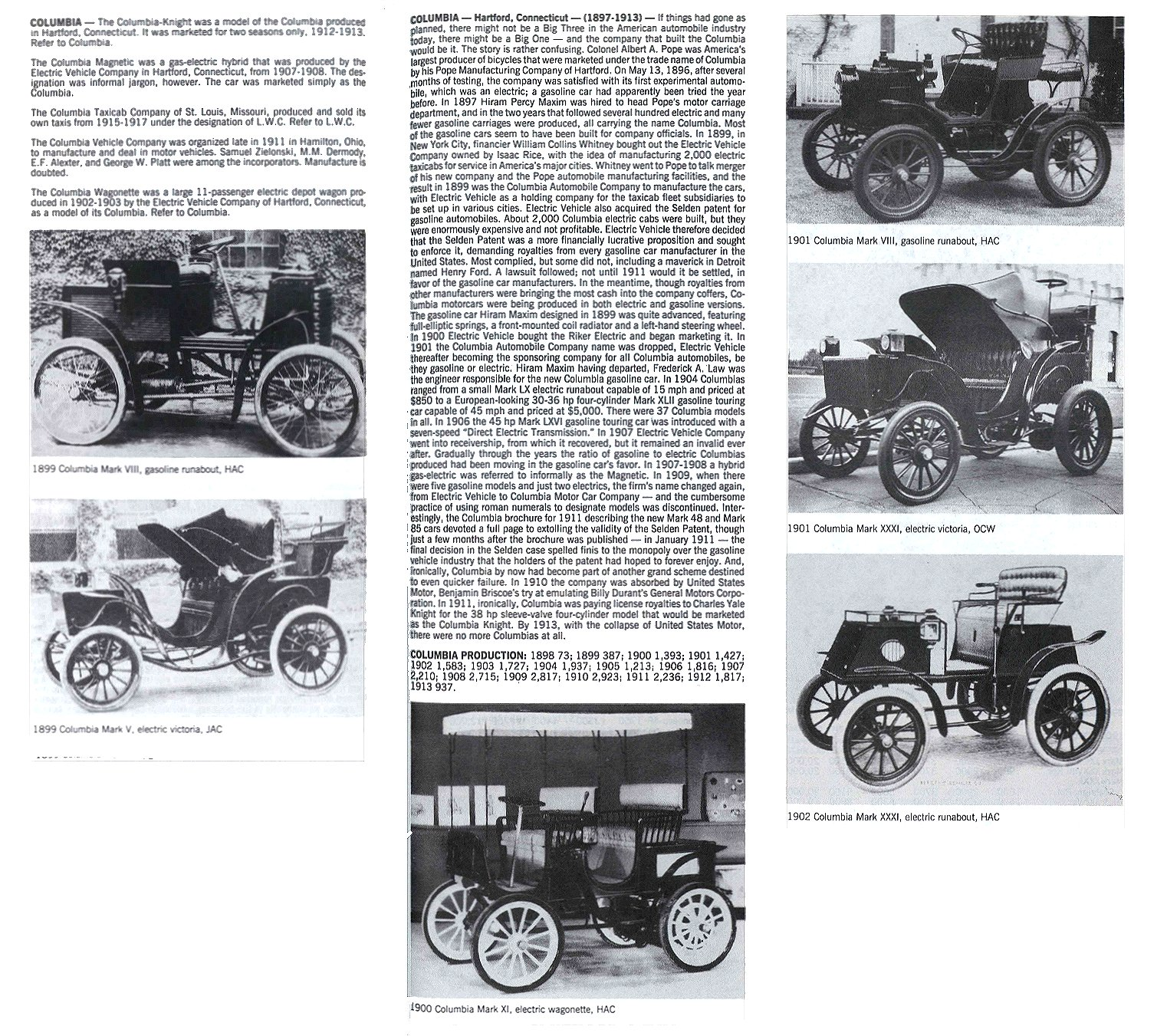 COLUMBIA Hartford, Connecticut 1897-1913 Standard Catalog of AMERICAN CARS 1805-1942 By Beverly Rae Kimes & Henry Austin Clark, Jr. Krause Publications ISBN: 0-87341-428-4 Page 357 8.5″x11″