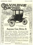 1909 2 6 COLUMBUS Electric Anyone Can Drive It The Columbus Buggy Co Columbus, OHIO THE SATURDAY EVENING POST February 6, 1909 5″x6.5″