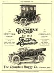 1912 1 3 COLUMBUS Electric Car For 1912 Model 1220 Model 86-D The Columbus Buggy Co Columbus, OHIO THE HORSELESS AGE January 3, 1912 8.5″x11.75″ page 19
