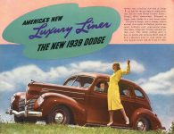 1939 DODGE Luxury Liner DODGE's SILVER ANNIVERSARY Form-403-250M-10-38- DODGE DIVISION OF CHRYSLER CORPORATION Detroit, MICH 11″x8.5″ page 1