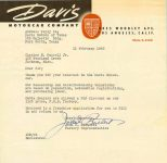 1948 2 11 DAVIS Letter from Davis Motorcar Company Los Angeles, Calif to: Davis Motors of Texas Fort Worth, Texas Dated: 11 February 1948 8.5″x11″ cover letter
