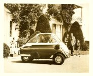 1957 BMW Isetta Fadex Commercial Corporation New York 6, N.Y. 10″x8″ black & white photograph