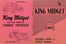 1953 KING MIDGET ASSEMBLY BOOK and SERVICE MANUAL MIDGET MOTORS SUPPLY Athens, OHIO 10″x6.75″ Front & Back covers