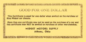 1955 ca. KING MIDGET GOOD FOR ONE DOLLAR MIDGET MOTORS SUPPLY Athens, OHIO 6.5″x3.25″ Back