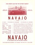1953-54 NAVAJO Sports Car 3 SEATER It's the Sports Car for the Entire Family NAVAJO MOTOR CAR COMPANY New York, New York 8.5″x11″