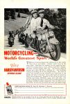 1950 8 HARLEY-DAVIDSON MOTORCYCLING— World's Greatest Sport! Ride a HYDRA-GLIDE MECHANIX ILUSTRATED August 1950 6.5″x9.5″ Back cover