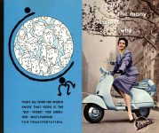 ca. 1956 VESPA count the many reasons why… VESPA DISTRIBUTING CORP. NEW YORK 17, New York 8.75″x6.75″ (R-L) Front panels 1 & 2