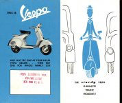 ca. 1956 VESPA count the many reasons why… VESPA DISTRIBUTING CORP. NEW YORK 17, New York 8.75″x6.75″ (R-L) Front panels 7 & 8