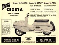 1959 7 CEZETA Scooter $439 CYCLE IMPORTS, INC. Los Angeles, CAL Floyd Clymer's AUTOMOBILE TOPICS July 1959 8.25″x11″ Inside front