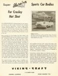 "1952 ca. Super SKORPION Sports Car Bodies For Crosley Hot Shot Ca. 1952 VIKING-CRAFT Manufacturers Of The ""Skorpion"" Anaheim, California 8.5″x11″ Front"