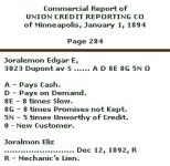 Credit reporting in EEJ's day. Edgar wasn't the best customer. Key of Reports Commercial Report of UNION CREDIT REPORTING CO Of Minneapolis 1894 (Mpls Library History Collection)