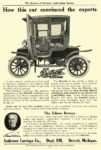 1910 DETROIT Electric How this car convinced the experts Anderson Carriage Co. Detroit, MICH The Review of Reviews – Advertising Section 1910 6.5″x9.75″ page 71