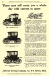 1910 DETROIT Electric These Cars will carry you Anderson Carriage Company Detroit, MICH MUNSEY'S MAGAZINE – ADVERTISING SECTION 1910 6″x9″ page 94