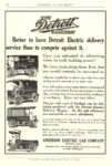 1911 6 DETROIT Electric Better to have Detroit Electric delivery Anderson Electric Car Company Detroit, MICH BULLETIN OF PHARMACY June 1911 7.5″x11″ page 16