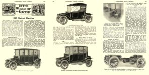 1913 2 DETROIT Electric IN THE WORLD OF THE ELECTRIC 1913 Detroit Electrics Anderson Electric Car Company Detroit, MICH AUTOMOBILE TRADE JOURNAL February 1913 6.5″x10″ pages 243, 244, 245