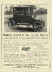 1913 12 11 DETROIT Electric Highest Award to the Detroit Electric Anderson Electric Car Company Detroit, MICH THE AUTOMOBILE December 11, 1913 8.5″x11.75″ page 104