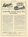 1913 10 16 DETROIT Electric The ELECTRIC Automobile Business Offers Anderson Electric Car Company Detroit, MICH THE AUTOMOBILE October 16, 1913 8″x1.75″ page 91