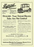1913 10 23 DETROIT Electric DEALERS: Your Detroit Electric Sales Are Not Limited Anderson Electric Car Co Detroit, MICH MOTOR AGE October 23, 1913 8.5″x11.5″ page 91