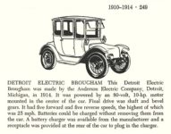 1914 DETROIT ELECTRIC Brougham Automobiles of the World By Albert L. Lewis and Walter A. Musciano DRAWINGS BY: Bjorn Karlstrom, Gary W. Musciano, Douglas Rolfe, Robert Godden Simon and Schuster New York 1977 ISBN: 0-671-22485-9 5.5″x8.5″ page 249