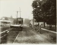 Laying trolley car track? EW Carter photo ca. 1900 Glass negative: 10″x8″