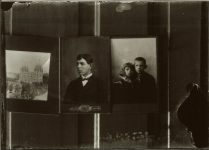A photograph of three hung pictures of a church, a young man and a boy and a girl. EW Carter photo ca. 1900 Glass negative: 7″x5″