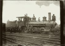 Locomotive 35 with six men standing. EW Carter photo ca. 1900 Glass negative: 7″x5″