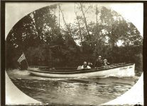 A motor-launch boat with St. Paul on her bow. EW Carter photo ca. 1900 Glass negative: 7″x5″