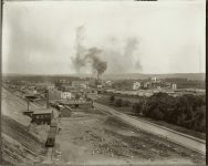 Bird's eye view of Swift and Company Beef, Mutton, Pork and Provisions South St. Paul, Minnesota EW Carter photo ca. 1900 Glass negative 1: 10″x8″