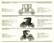 1910 ELECTRIC PLEASURE CARS. IDEAL     DETROIT     FRITCHIE MoToR's 1910 MoToR CAR DIRECToRY Published By MoToR, New York 10″x7.25″ page 110