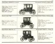 1910 ELECTRIC PLEASURE CARS. DETROIT     RAUCH & LANG     WOODS MoToR's 1910 MoToR CAR DIRECToRY Published By MoToR, New York 10″x7.25″ page 113